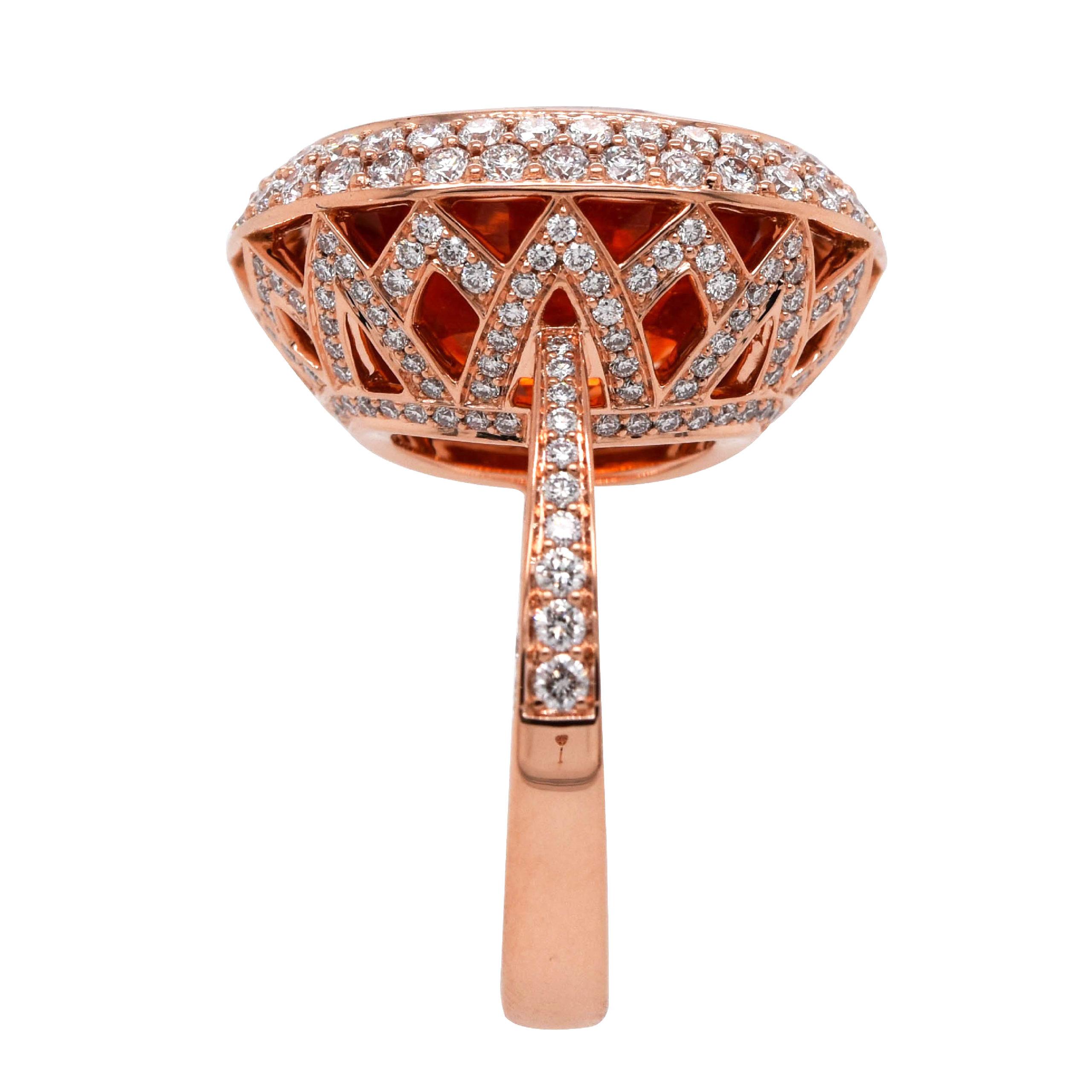 Bague grenat orange diamants or rose