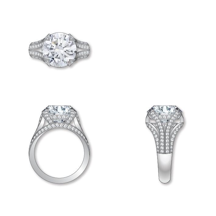 Dessin solitaire diamants or blanc