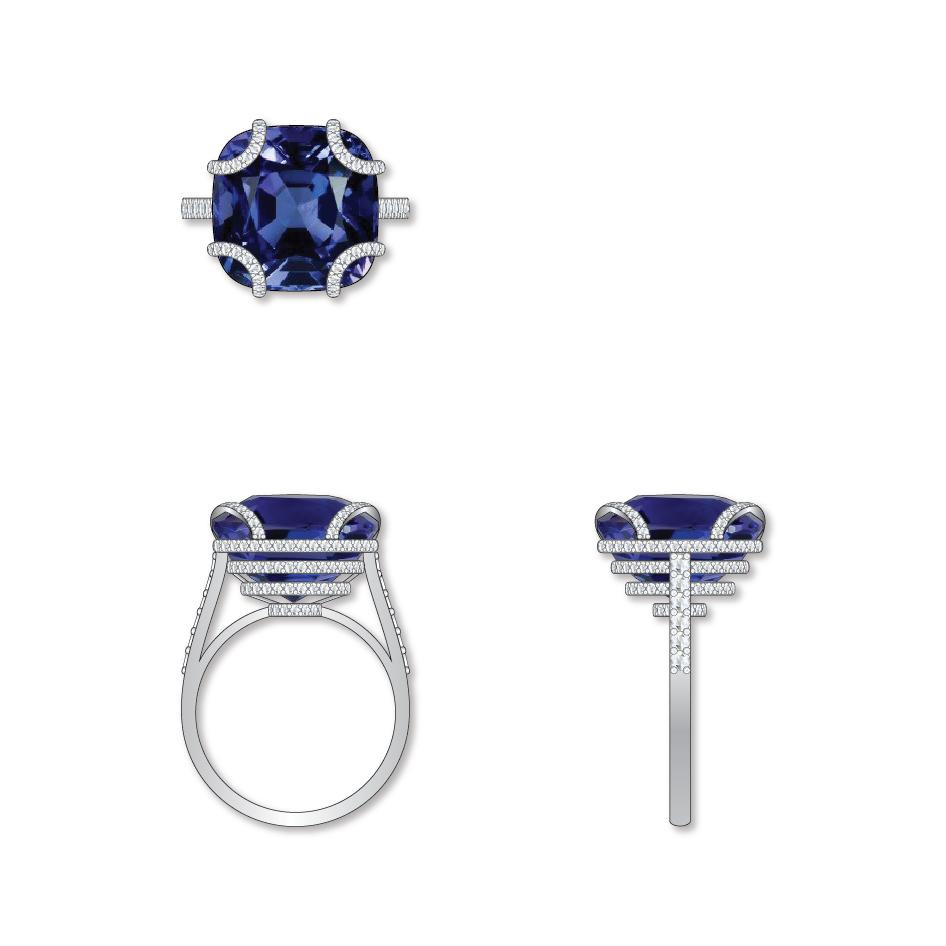 Dessin bague saphir diamants
