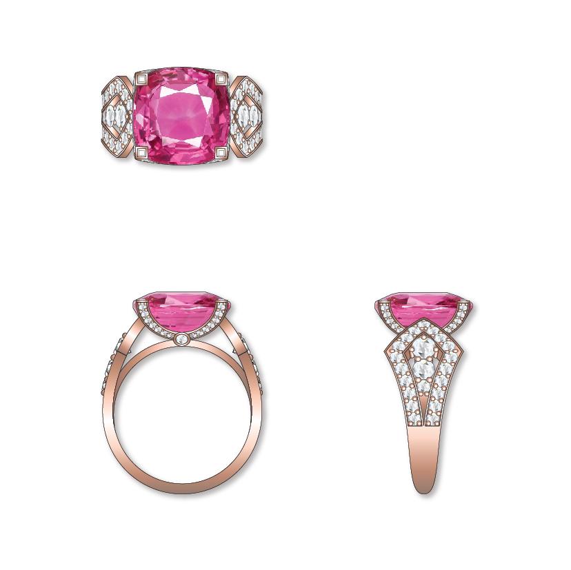 Dessin bague saphir rose diamants or rose