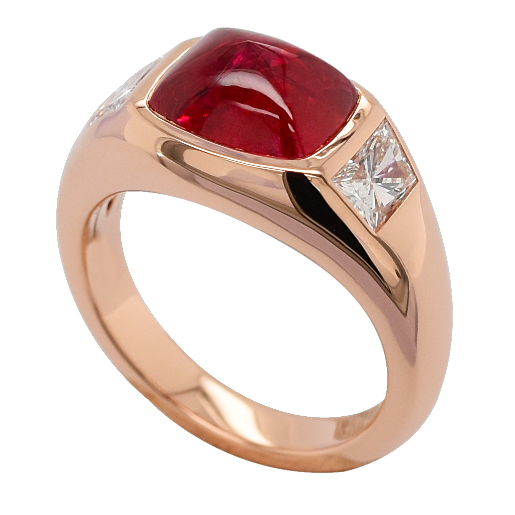 Chevalière spinelle rouge diamants or rose