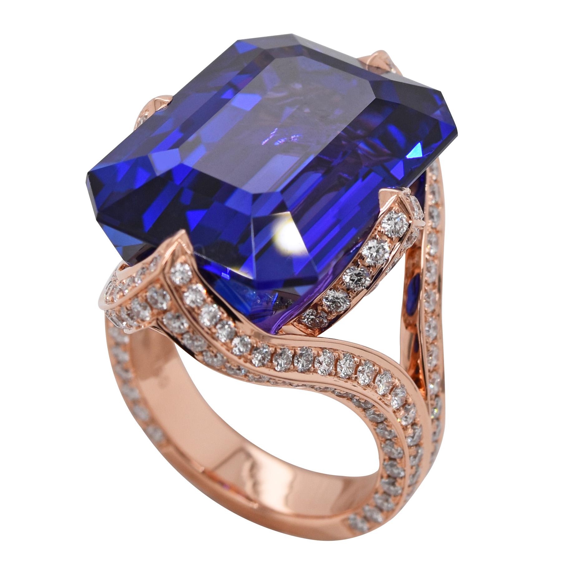 Bague tanzanite diamants or rose