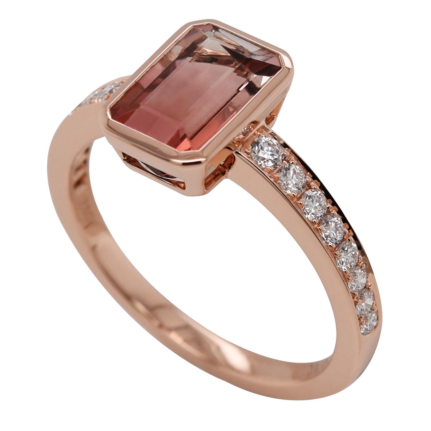 Bague tourmaline rose diamants
