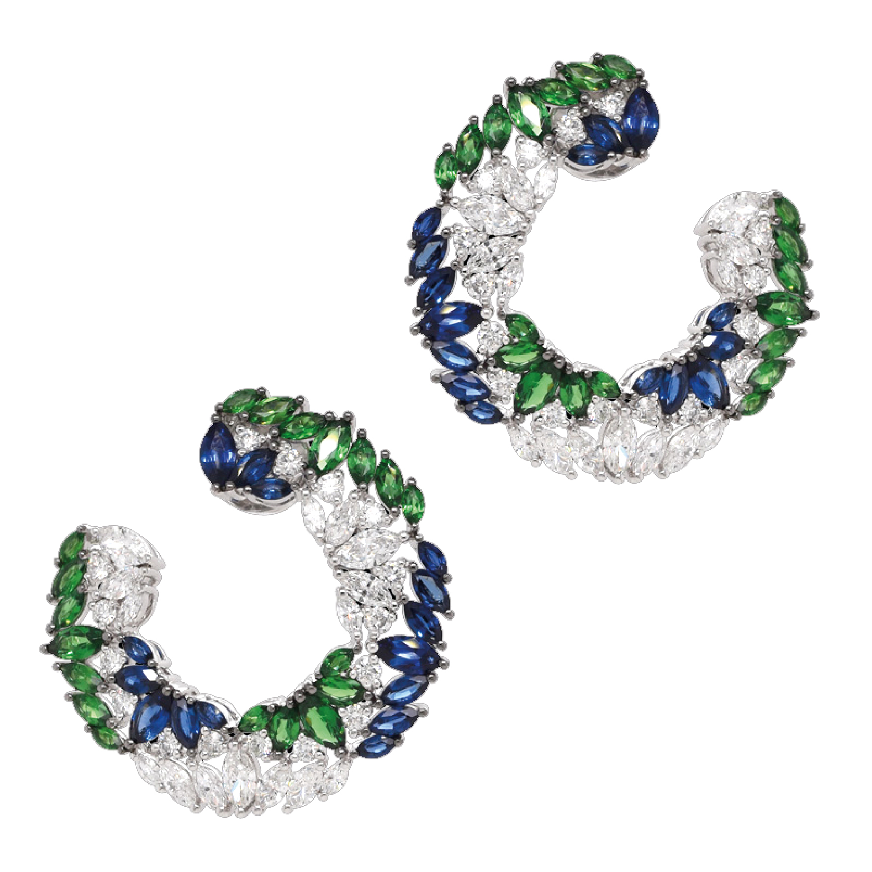 Boucles d'oreilles diamants tsavorites saphirs