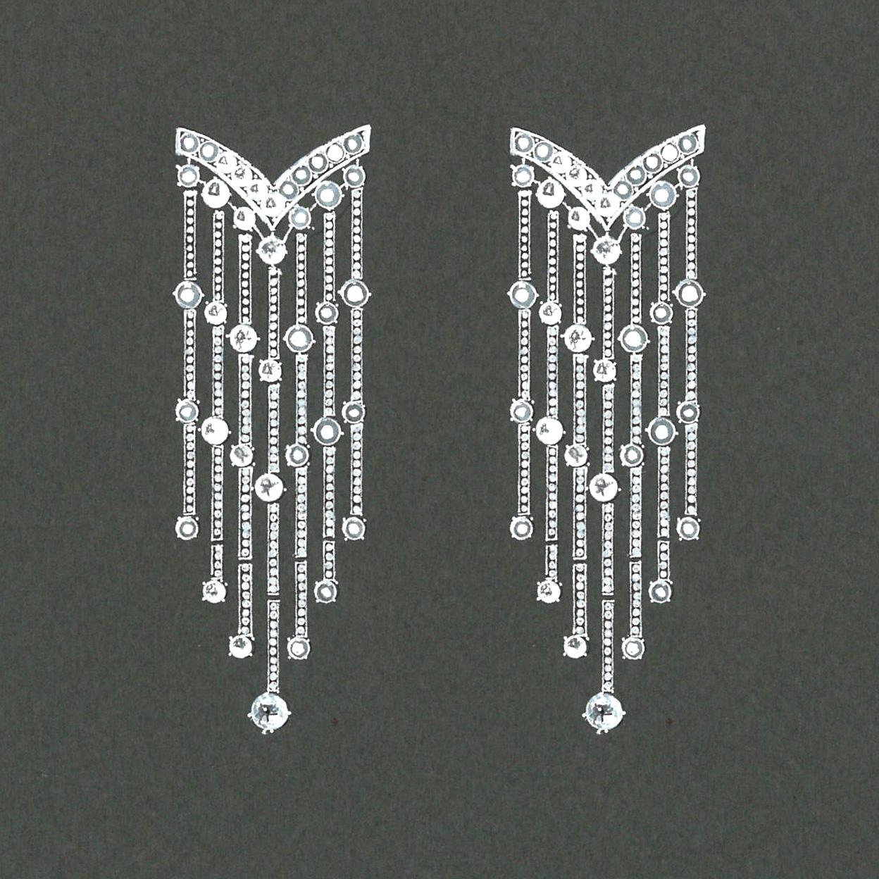 Gouache boucles d'oreilles diamants or blanc