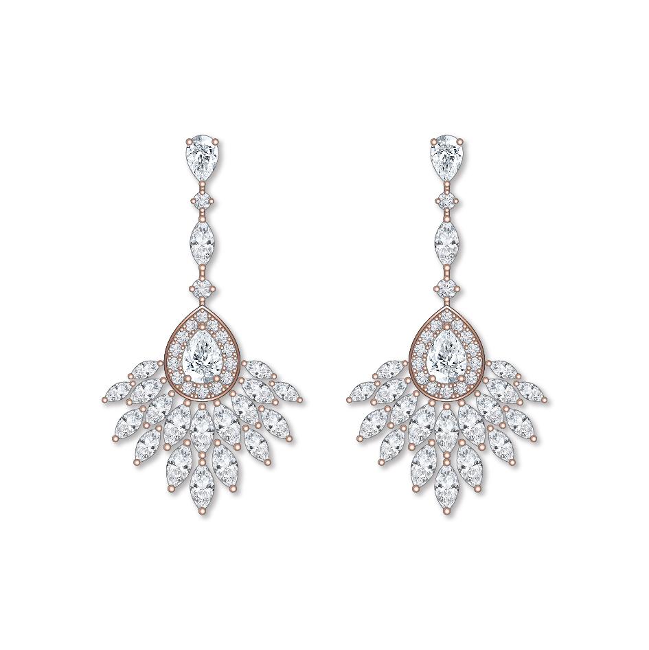 Dessin boucles d'oreilles diamants or rose