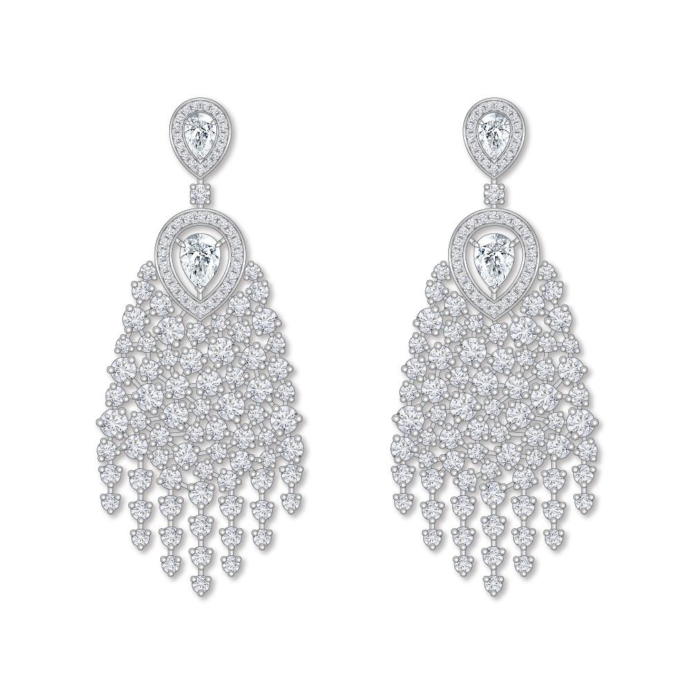 Dessin boucles d'oreilles diamants or blanc