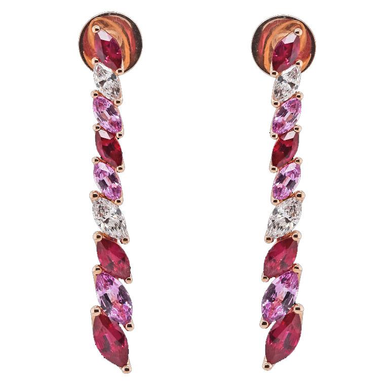Boucles rubis saphirs roses diamants