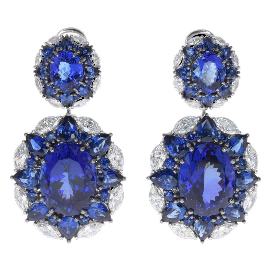 Boucles d'oreilles tanzanites saphirs diamants