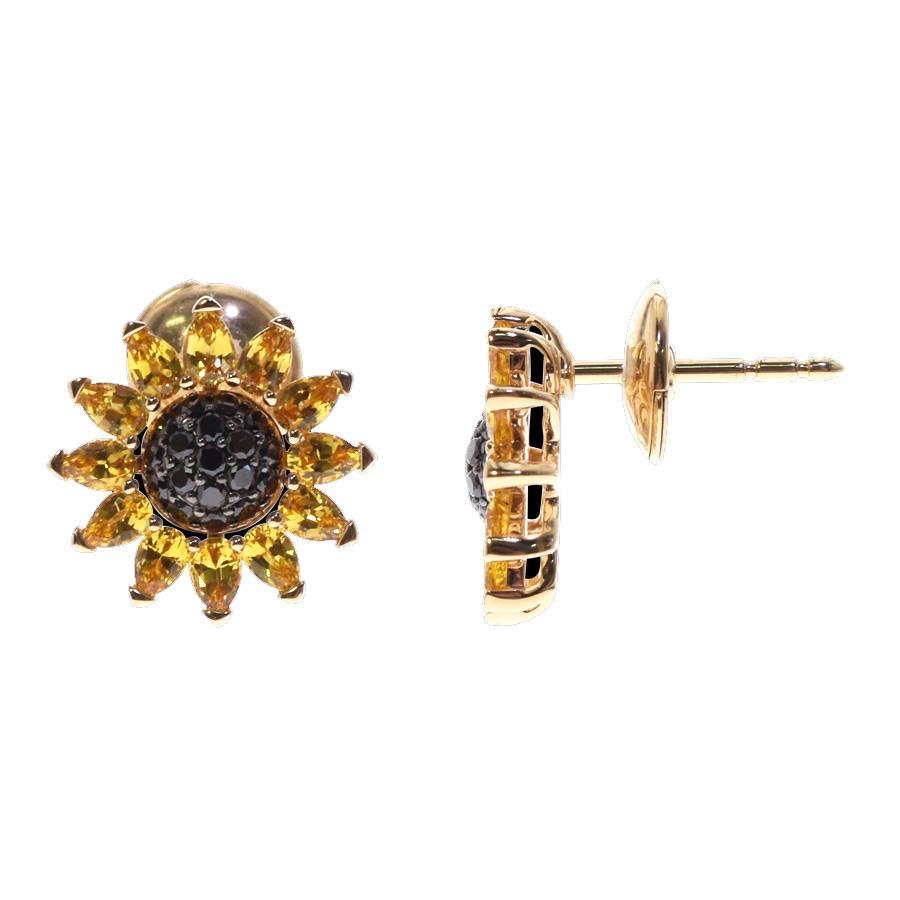 Boucles d'oreilles saphirs jaunes diamants noirs