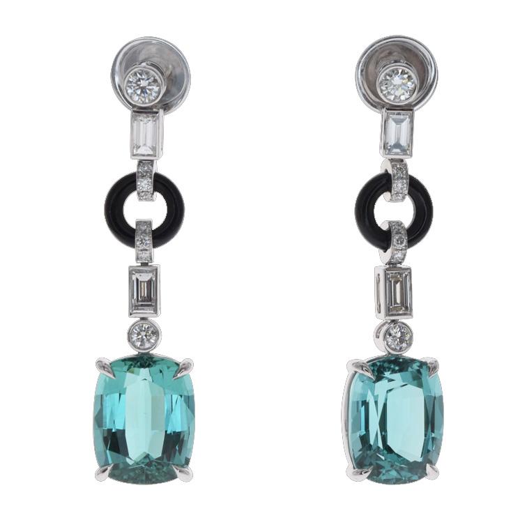 Boucles d'oreilles tourmalines vertes onyx diamants