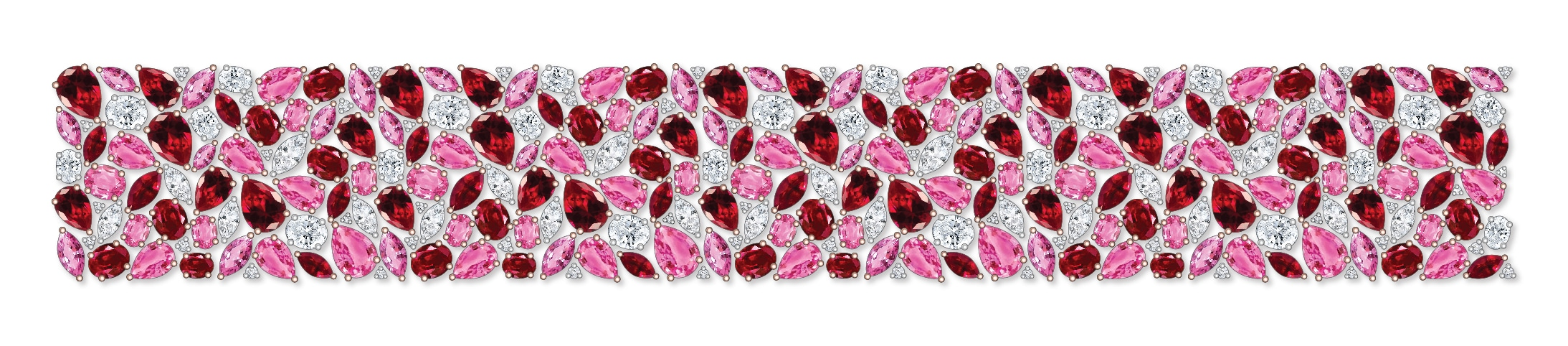 Dessin bracelet saphirs roses rubellite diamants