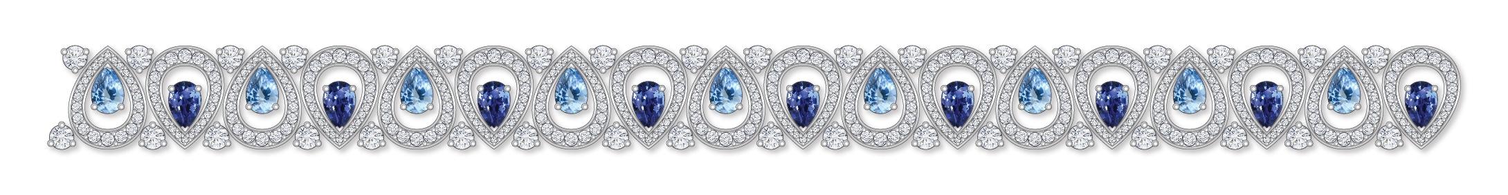 Dessin bracelet saphirs diamants or blanc