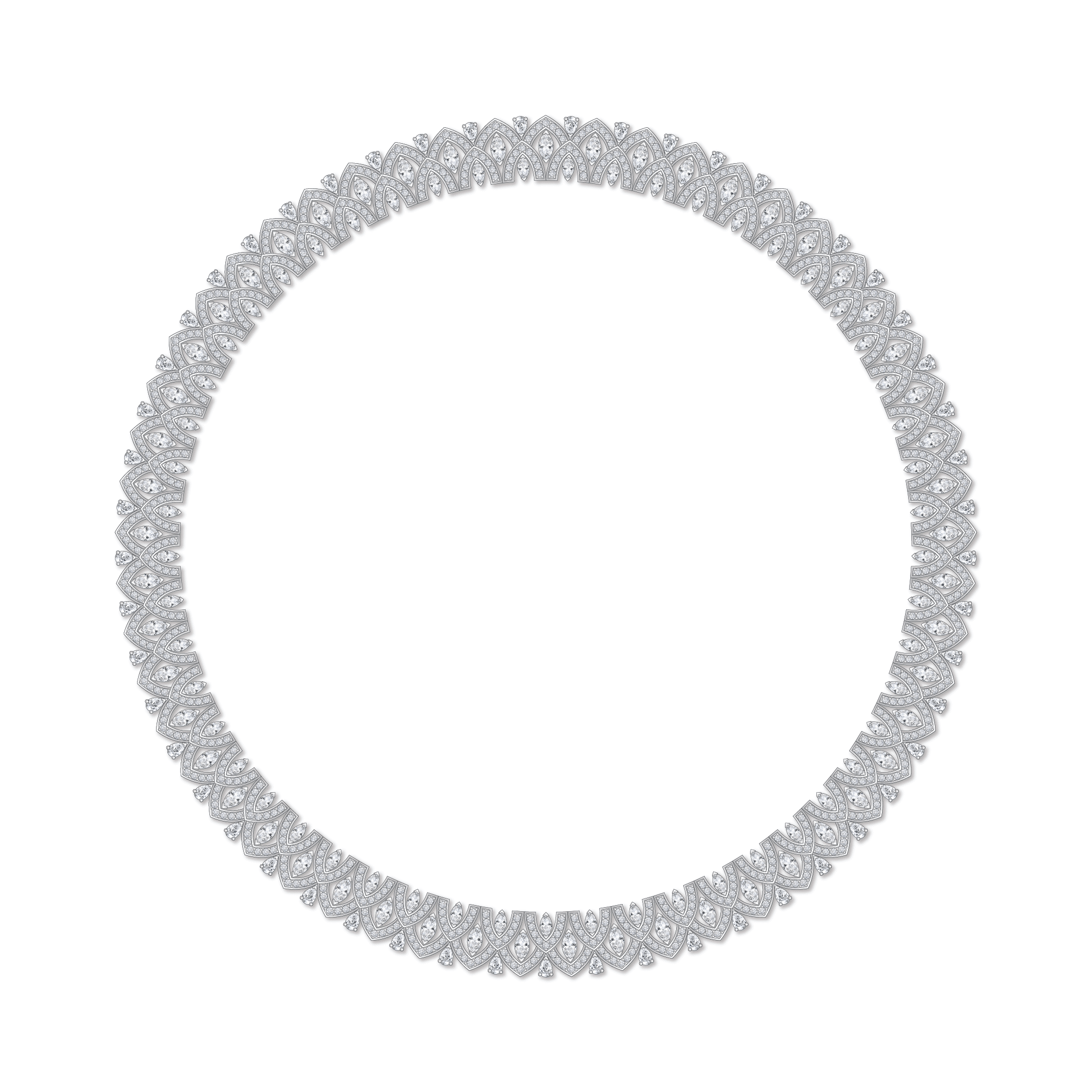 Dessin collier diamants or blanc