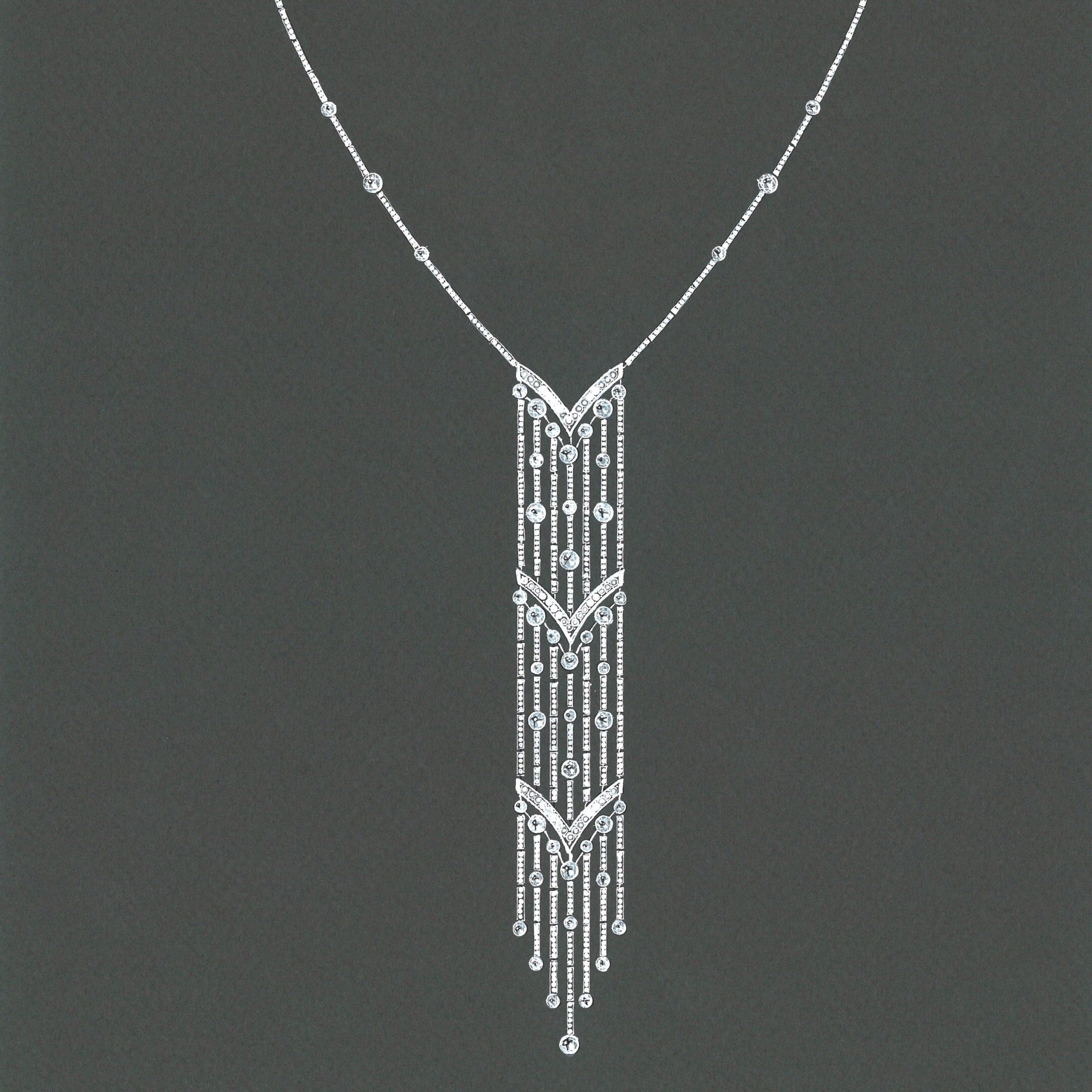 Gouache collier diamants or blanc