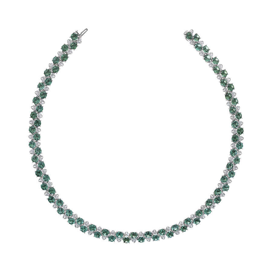 Collier tourmalines vertes diamants or blanc