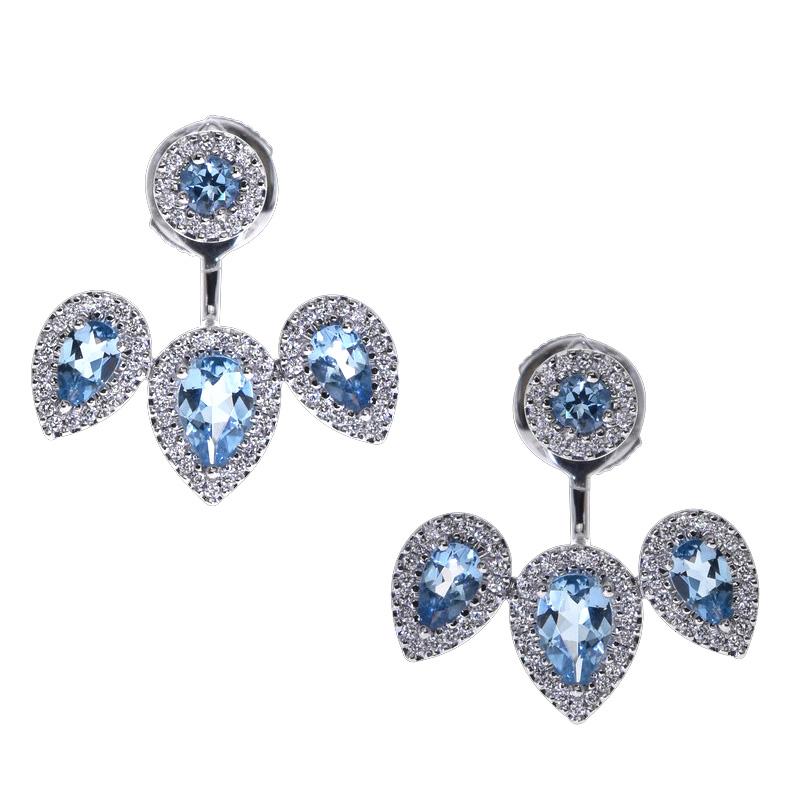 Boucles d'oreilles aigues-marines diamants