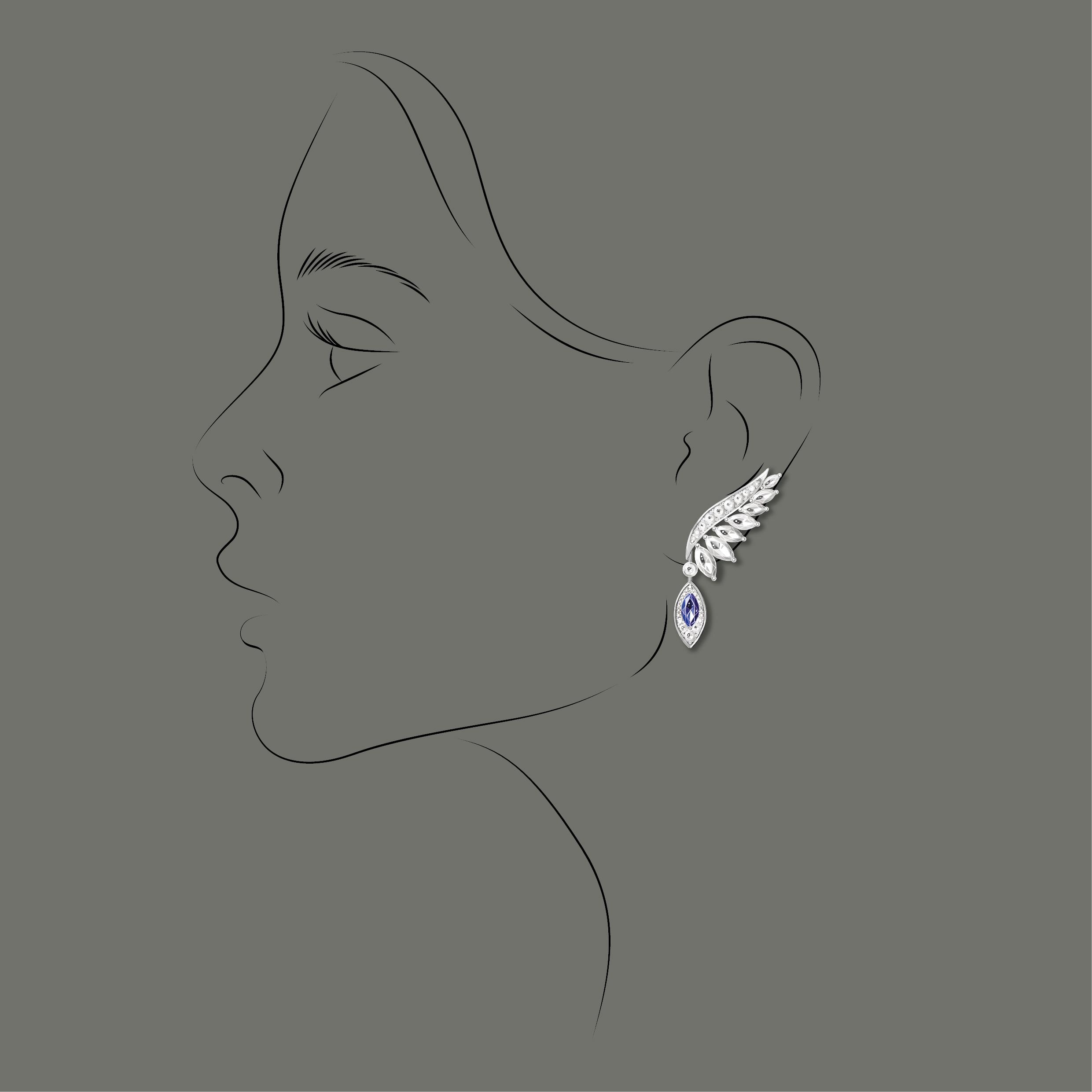 Peinture numérique boucle d'oreille diamants saphirs