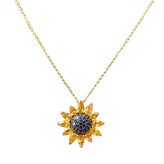 Pendentif saphirs jaunes diamants noirs