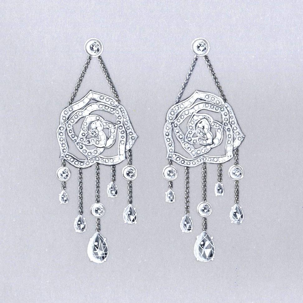 Gouache boucles Piaget diamants