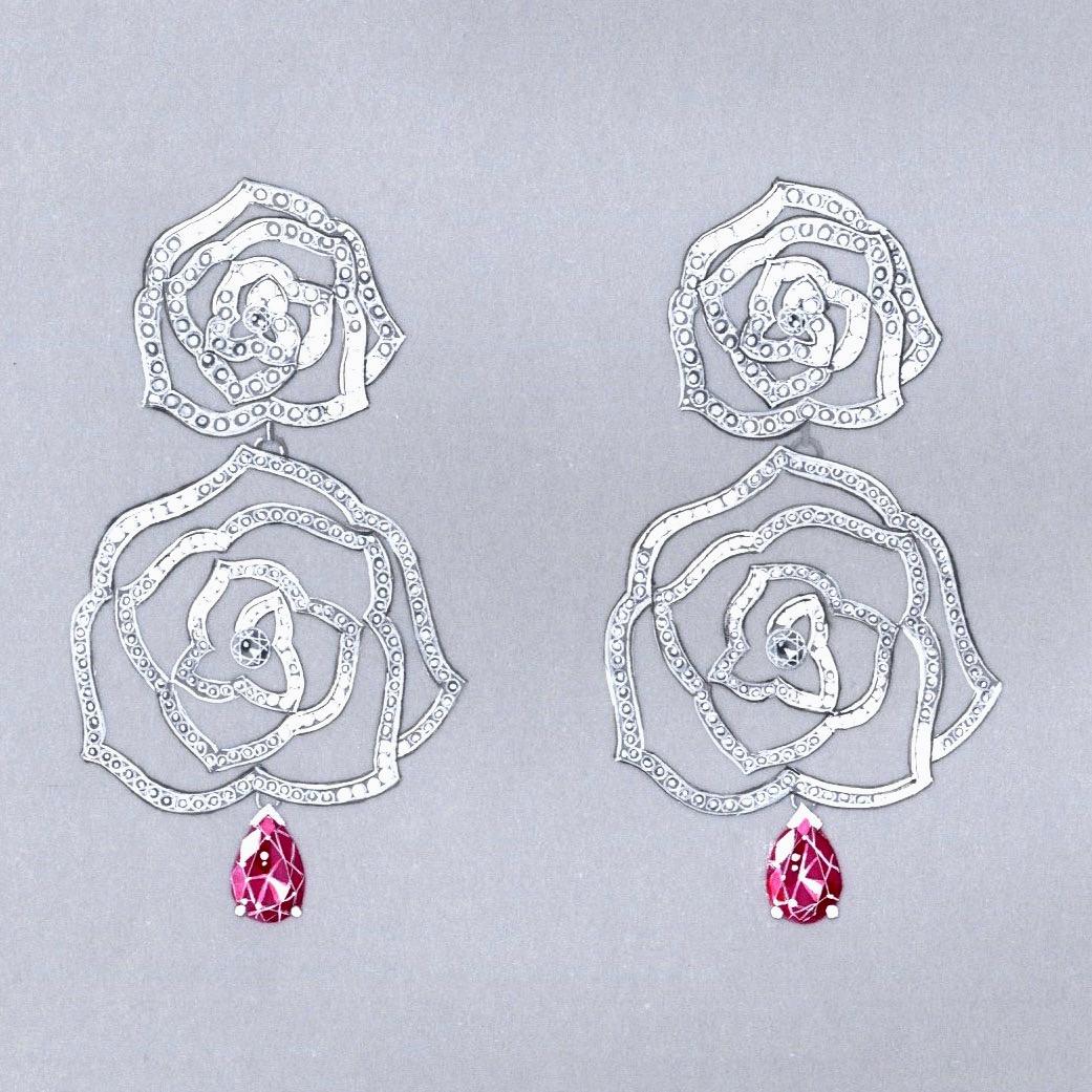 Gouache boucles Piaget saphirs roses diamants