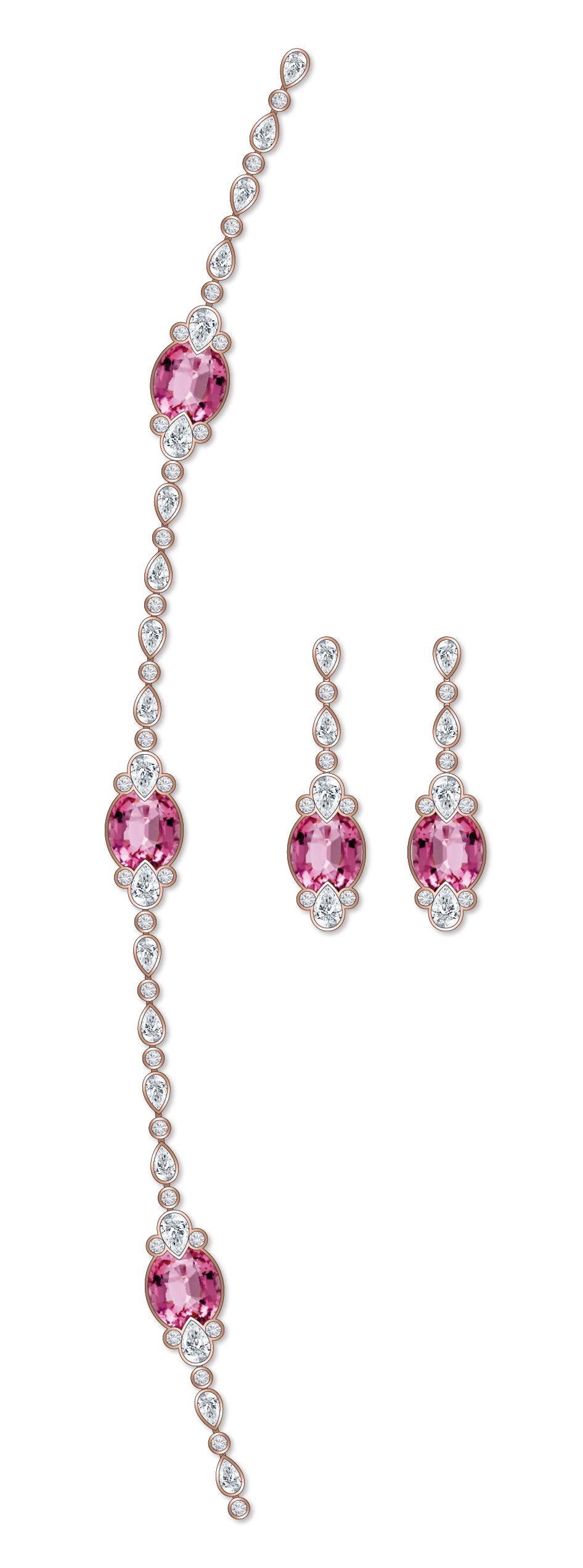 Dessin sautoir tourmalines roses diamants