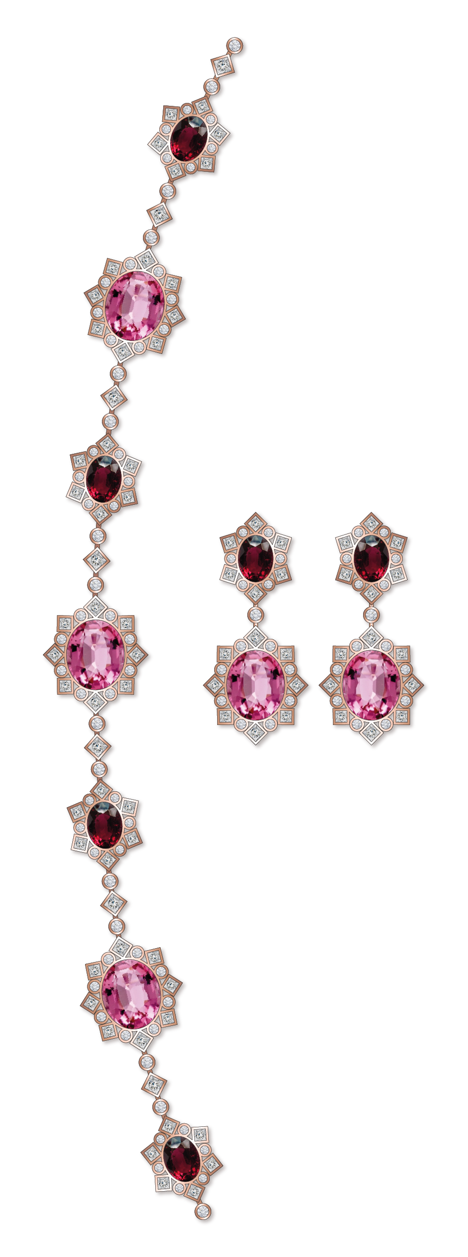 Dessin sautoir tourmalines roses rubellites diamants