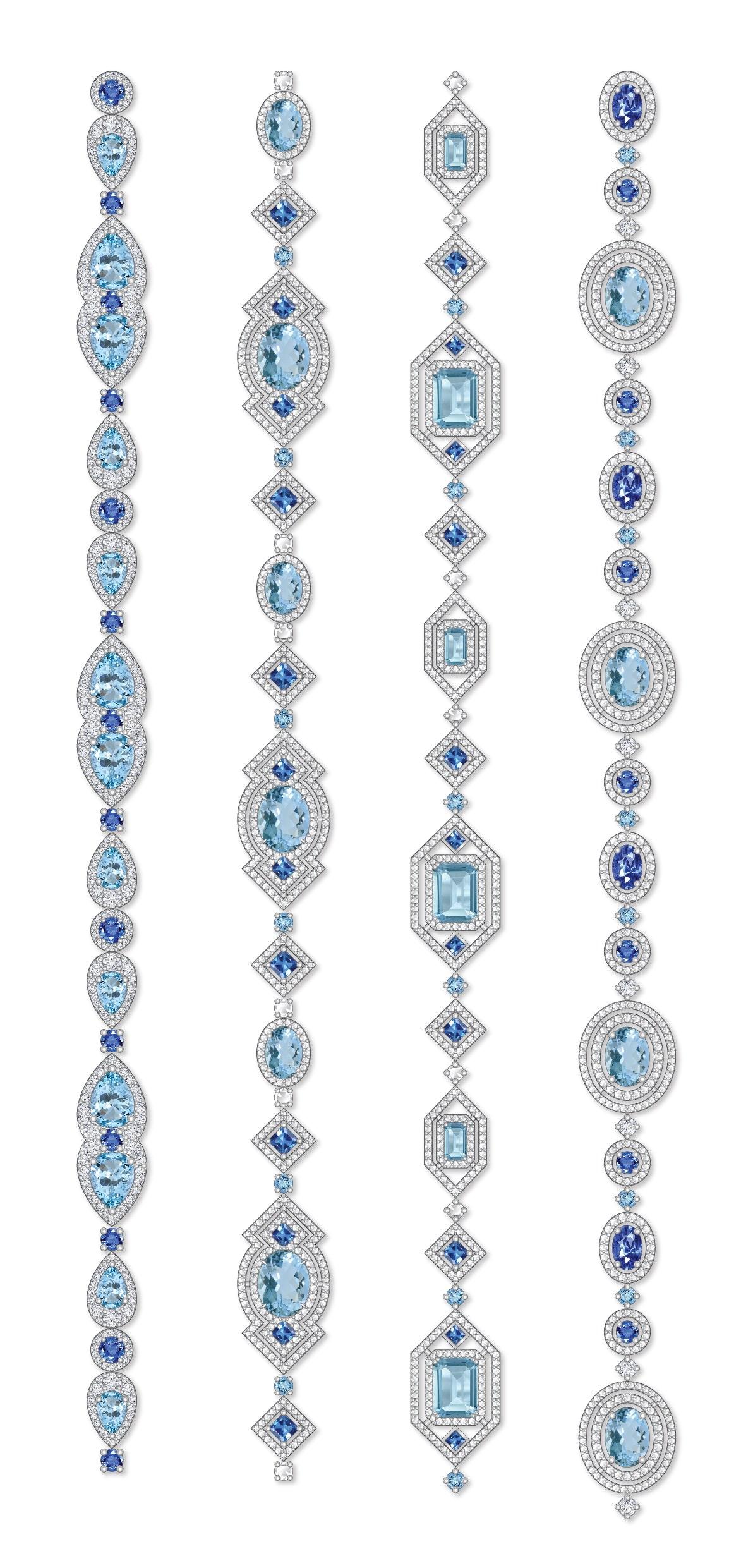 Dessins sautoirs aigue-marine saphirs diamants