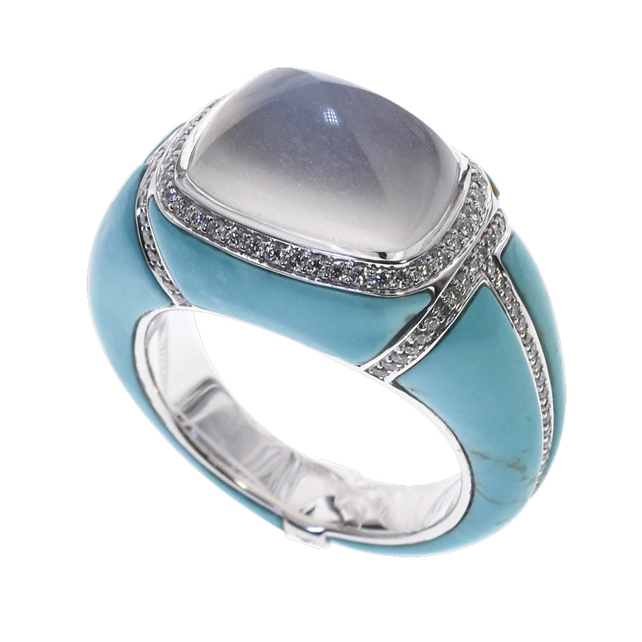 Bague moonstone turquoise diamants