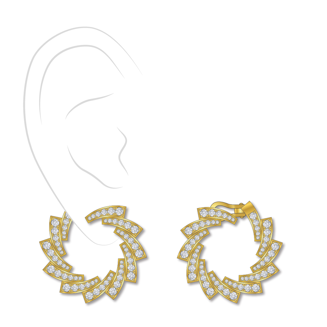 Dessin boucles d'oreilles diamants or jaune