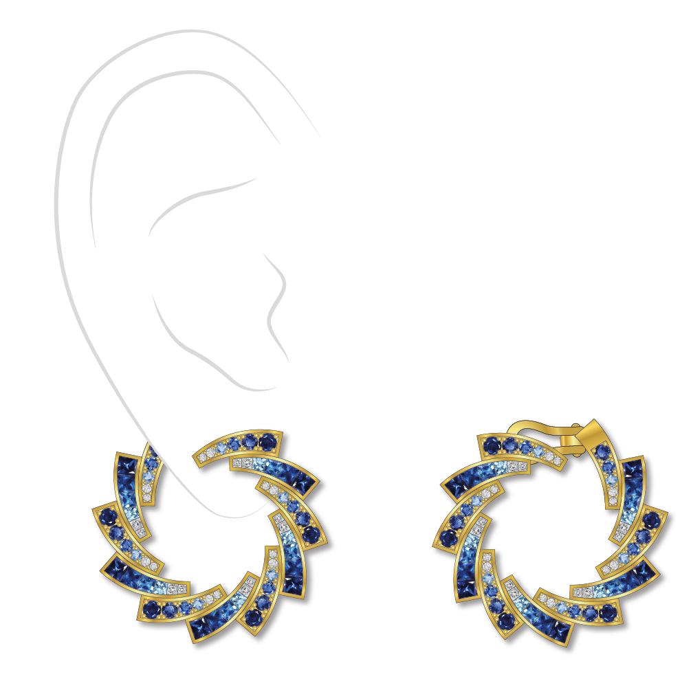 Dessin boucles d'oreilles diamants saphirs or jaune