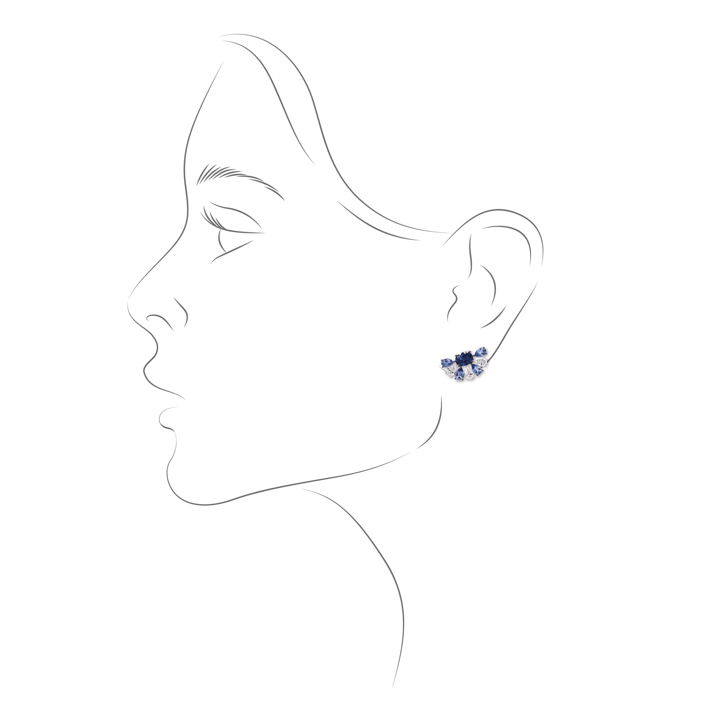 Boucles d'oreilles saphirs diamants
