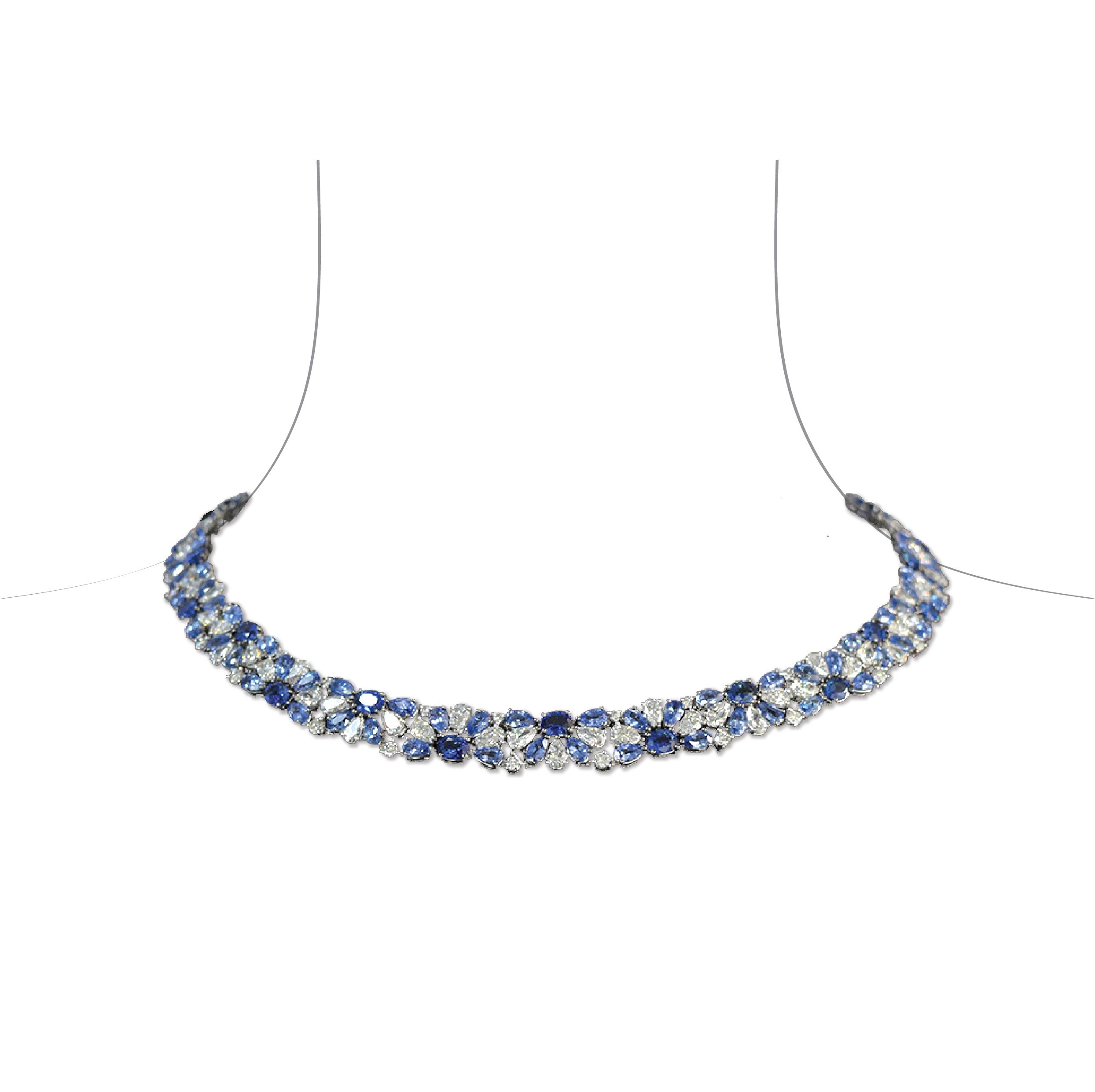 Collier saphirs diamants or blanc