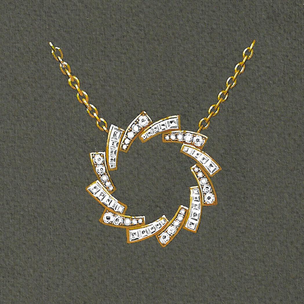 Gouache pendentif diamants or jaune