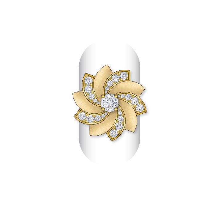 Dessin bague diamants or jaune satiné
